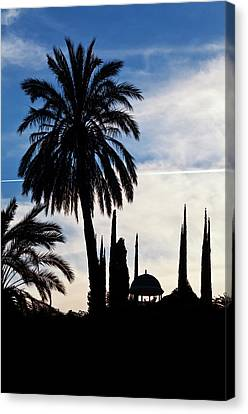 The Silhouetted Temple,botanical Garden Canvas Print by Panoramic Images