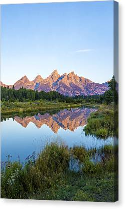 The Tetons Reflected On Schwabachers Landing - Grand Teton National Park Wyoming Canvas Print by Brian Harig