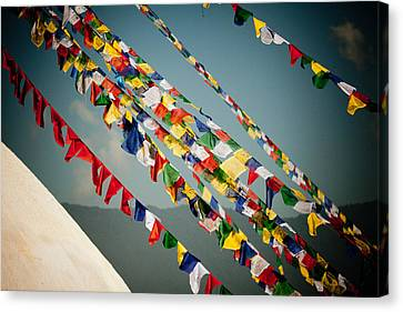 Tibetan Buddhist Prayer Flags Stupa Boudnath Canvas Print by Raimond Klavins