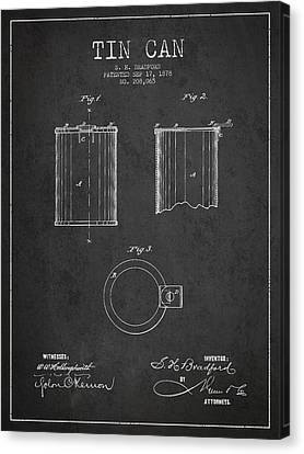 Tin Can Patent Drawing From 1878 Canvas Print by Aged Pixel