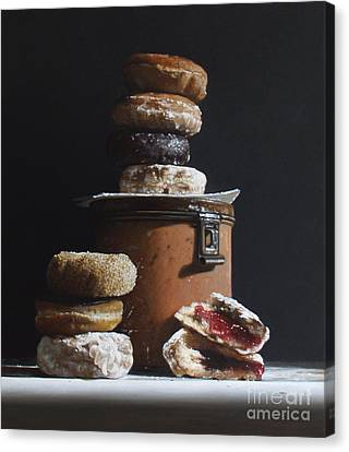 Tin With Donuts Canvas Print by Larry Preston