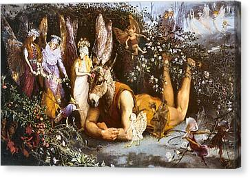 Titania And Bottom Canvas Print by John Anster Fitzgerald