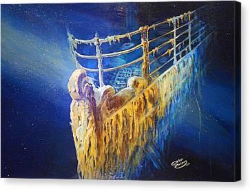 Titanic In The Deep Mist Canvas Print by Ottilia Zakany