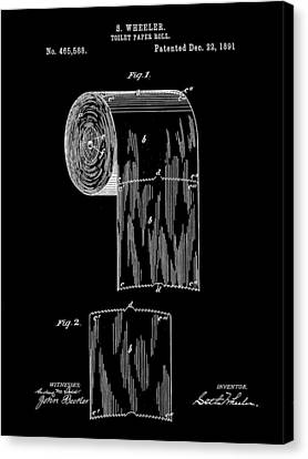 Toilet Paper Roll Patent 1891 - Black Canvas Print by Stephen Younts