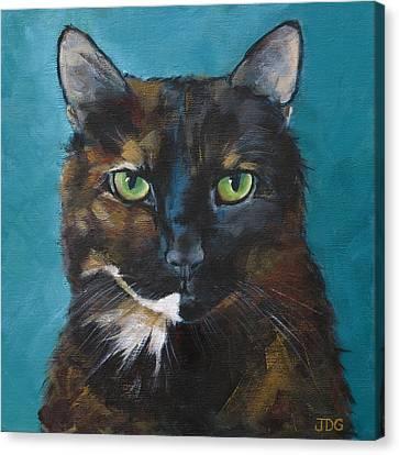Tortoiseshell Cat Canvas Print by Julie Dalton Gourgues