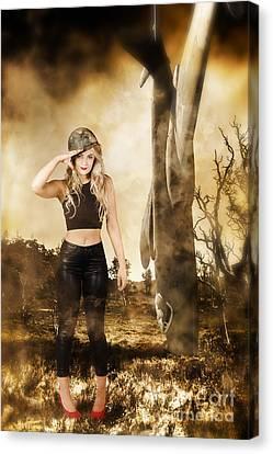 Tough Australian Pin-up Girl. Spirit Of The Anzac Canvas Print by Jorgo Photography - Wall Art Gallery