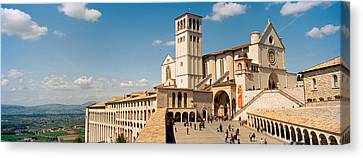Tourists At A Church, Basilica Of San Canvas Print by Panoramic Images