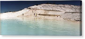 Tourists At A Hot Springs Canvas Print by Panoramic Images