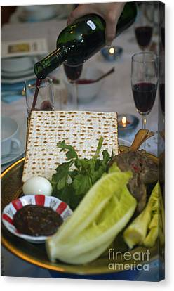 Traditional Sedder Table Canvas Print by Ilan Rosen
