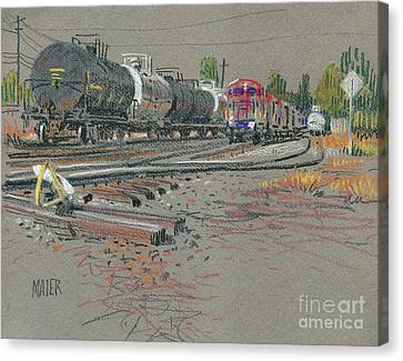 Train's Coming Canvas Print by Donald Maier
