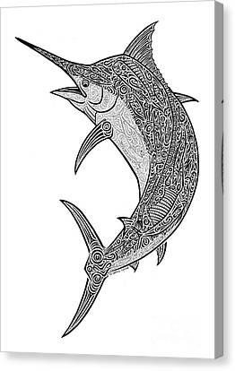 Tribal Black Marlin Canvas Print by Carol Lynne