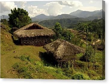 Tribal Homes In Arunachal Pradesh Canvas Print by Jaina Mishra
