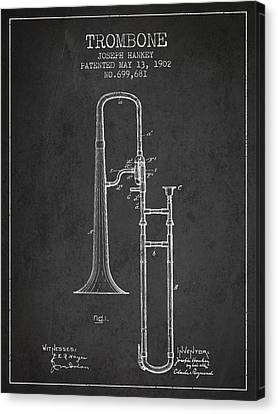 Trombone Patent From 1902 - Dark Canvas Print by Aged Pixel