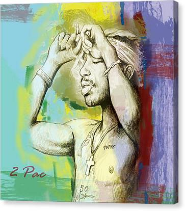 Tupac Shakur Long Stylised Drawing Art Poster Canvas Print by Kim Wang