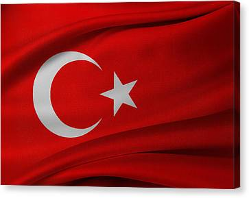 Turkish Flag Canvas Print by Les Cunliffe