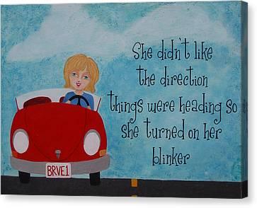 Turned On Her Blinker Canvas Print by Brandy Gerber