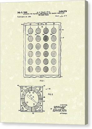 Game 1969 Patent Art Canvas Print by Prior Art Design