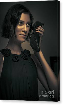Undercover Secret Agent Using Shoe Phone Canvas Print by Jorgo Photography - Wall Art Gallery