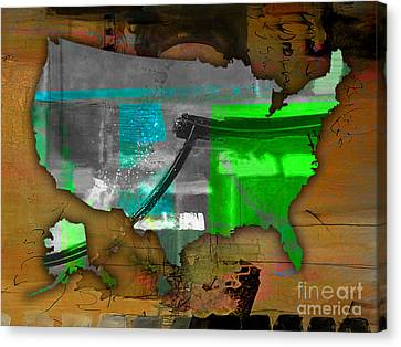 United States Map Watercolor Canvas Print by Marvin Blaine