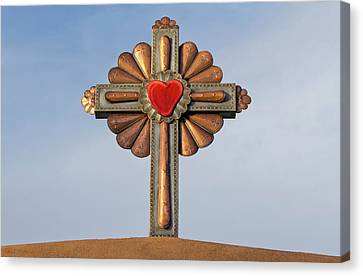 Usa, New Mexico, Chimayo, Gilded Cross Canvas Print by Luc Novovitch