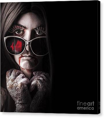 Vampire In The Dark. Horror Fashion Portrait Canvas Print by Jorgo Photography - Wall Art Gallery