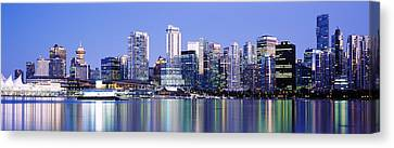Vancouver Skyline At Night, British Canvas Print by Panoramic Images
