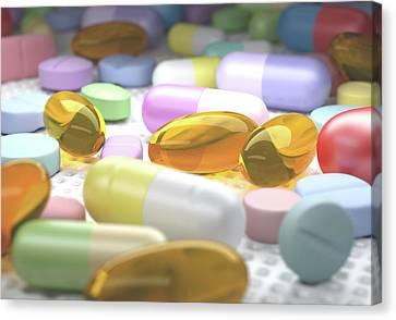 Variety Of Drugs Canvas Print by Ktsdesign