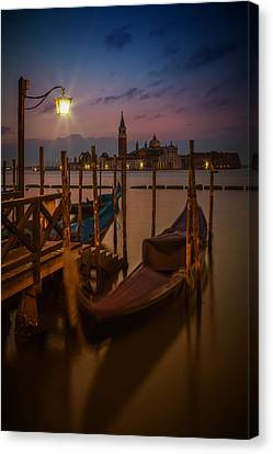 Venice Gondolas During Blue Hour Canvas Print by Melanie Viola