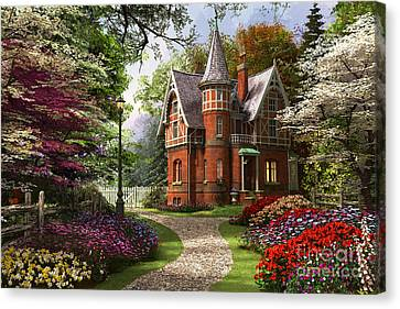 Victorian Cottage In Bloom Canvas Print by Dominic Davison