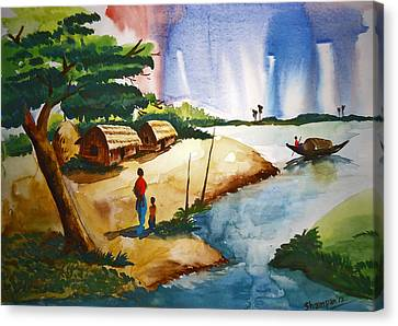 Village Landscape Of Bangladesh Canvas Print by Shakhenabat Kasana