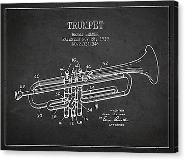 Vinatge Trumpet Patent From 1939 Canvas Print by Aged Pixel