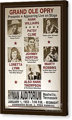 Vintage 1953 Grand Ole Opry Poster Canvas Print by John Stephens