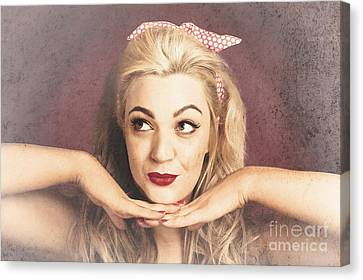 Vintage Face Of Nostalgia. Retro Blond 1940s Girl  Canvas Print by Jorgo Photography - Wall Art Gallery