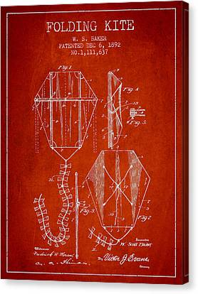 Vintage Folding Kite Patent From 1892 Canvas Print by Aged Pixel