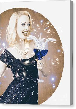 Vintage Jazz Music Night Club Woman. Pinup Poster Canvas Print by Jorgo Photography - Wall Art Gallery