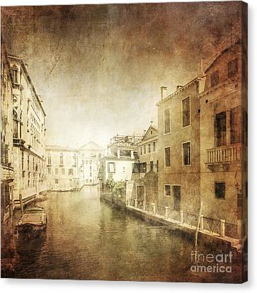Vintage Photo Of Venetian Canal Canvas Print by Evgeny Kuklev