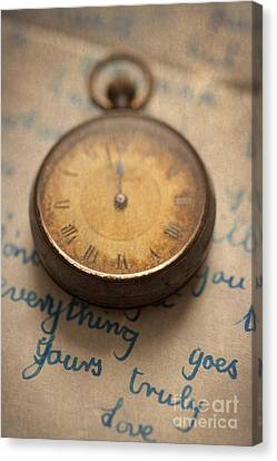 Vintage Pocket Watch And Letter Canvas Print by Lee Avison