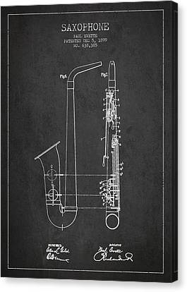 Saxophone Patent Drawing From 1899 - Dark Canvas Print by Aged Pixel