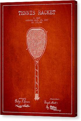 Vintage Tennnis Racketl Patent Drawing From 1887 Canvas Print by Aged Pixel