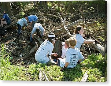 Volunteers Clearing Logs Canvas Print by Jim West