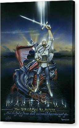 Warriors Dragon Slayer Canvas Print by Cliff Hawley