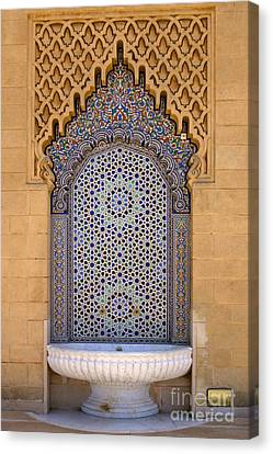 Water Fountain Mausoleum Of Mohammed V Opposite Hassan Tower Rabat Morocco  Canvas Print by Ralph A  Ledergerber-Photography