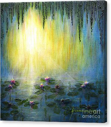 Water Lilies At Sunrise Canvas Print by Jerome Stumphauzer