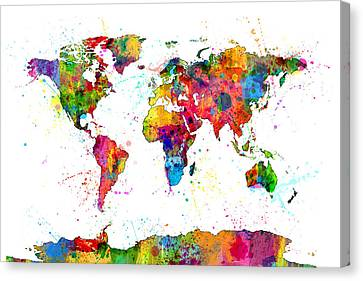 Watercolor Political Map Of The World Canvas Print by Michael Tompsett
