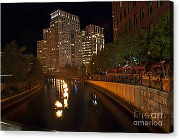 Waterfire.  Providence Rhode Island Canvas Print by Juli Scalzi