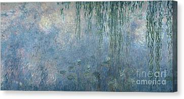 Waterlilies Morning With Weeping Willows Canvas Print by Claude Monet