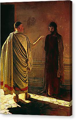 What Is Truth - Christ And Pilate Canvas Print by Mountain Dreams
