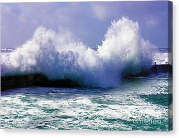 Wild Waves In Cornwall Canvas Print by Terri Waters