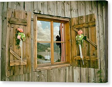 Window Reflections Of Switzerland Canvas Print by Mountain Dreams