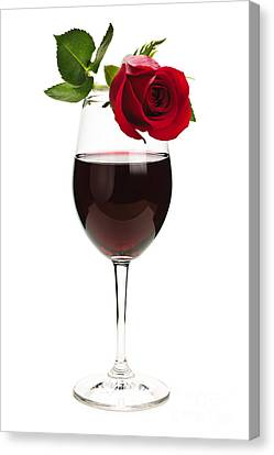 Wine With Red Rose Canvas Print by Elena Elisseeva